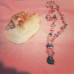 Handmade seashell necklace in pink